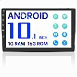 Double Din Android Bluetooth Car Stereo,10.1'' Voice Control Car Stereo with GPS Touch Screen Player,Car Audio Radio Receiver,Support WiFi,USB,FM,Mirror Link,Video Output,Backup Camera (1G RAM 16G ROM