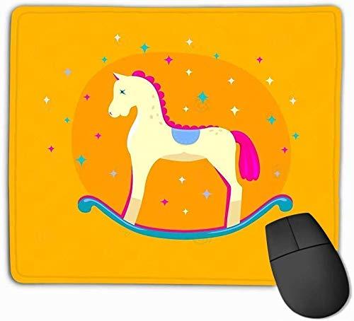 Alfombrilla de ratón Lindo Caballo Mecedora Brillante Fondo Amarillo Aislado Elemento de diseño de...