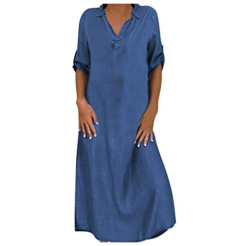 FUNEY 2021 Fashion Women Denim Shirt Dresses Long Sleeve Distressed Jean Dress Button Down Casual Maxi Dress Tunic Top Blue