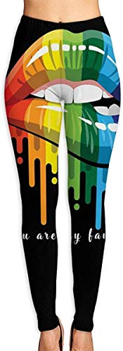 Monicago Sportswear-Strumpfhosen & Leggings für Damen, Printed Leggings Gay Homosexual Lesbian Rainbow Lips Pride Workout Leggings Women Girls Spandex