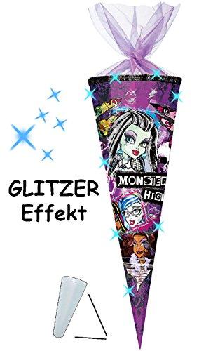 alles-meine.de GmbH 3-D Glitzer Effekt _ ! - Schultüte -  Monster High  - 85 cm / 12 eckig - Organza Abschluß - Zuckertüte - mit / ohne Kunststoff Spitze - für Mädchen - Vampir..