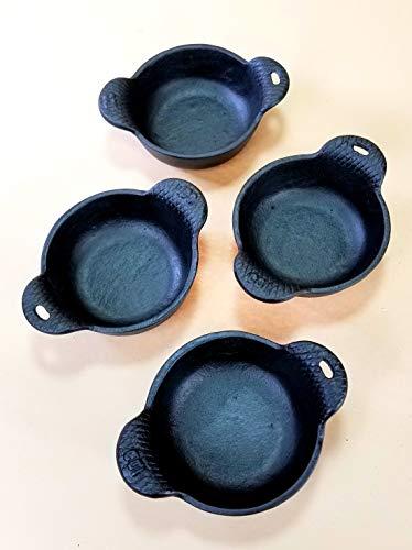 4 pc Cast Iron Ramekins Bakeware Bowls 4' x 1/2', 12 oz