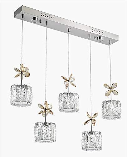 NOTREPP Araña De Araña Contemporánea 5 Moderno Transparente Cristal Chandelier Sala De Estar Araña Lámpara Lámpara Lámpara Suspendida Cromo,A