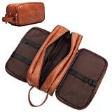 toiletry travel bag brown leather
