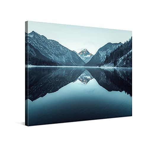 PICANOVA – Mountain Lake Plansee 80x60cm – Cuadro sobre Lienzo – Impresión En Lienzo Montado sobre Marco De Madera (2cm) – Disponible En Varios Tamaños – Colección Montañas