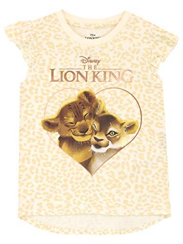 Disney Maglietta Maniche Corta per Ragazze Re Leone The Lion King Giallo 5-6 Anni