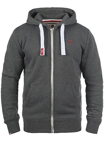!Solid BennZip Herren Sweatjacke Kapuzenjacke Hoodie mit Kapuze und Reißverschluss, Größe:L, Farbe:Med Grey (8254)