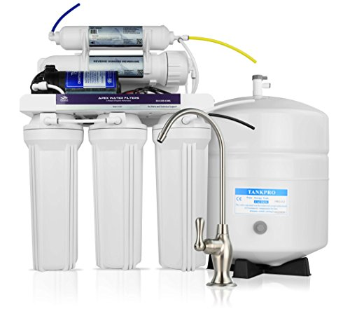 APEX Premium MR-5101 Under Sink 5-Stage Reverse Osmosis Drinking Water Filtration System, 100 GPD RO Membrane Water Filter + with Booster Pump