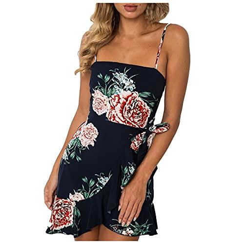 Liably Vestido de mujer de gasa, sexy, irregular, para verano, playa, vacaciones, corto, boho, informal, elegante, Y2K, para fiestas de noche Negro L