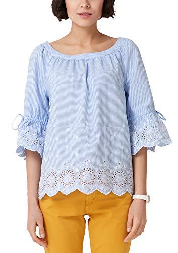 s.Oliver Damen 04.899.19.5322 Bluse, Blau (Grey-Blue Embroidery 52l4), (Herstellergröße: 38)