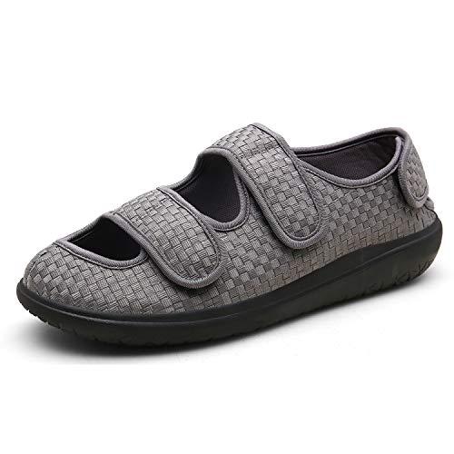 Sandalias Mujer Hombre Zapatillas de Estar por casa Zapatos Diabéticos Respirable Zapatillas Ortopédica para ensanchar Ajustable Cómoda Artritis Edema Zapatos hinchados Gris 36EU