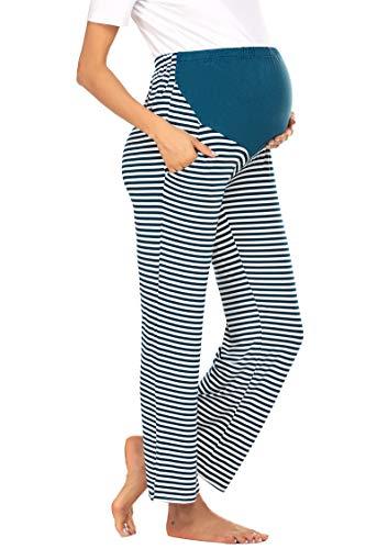 Balancora Damen Umstandshose Hosen für Schwangere Streifen Lange Hose Schwanger Schwangerschaftshose Cargo Umstandsshorts Unterhose kurz Sommer Yoga mit extra Bauch