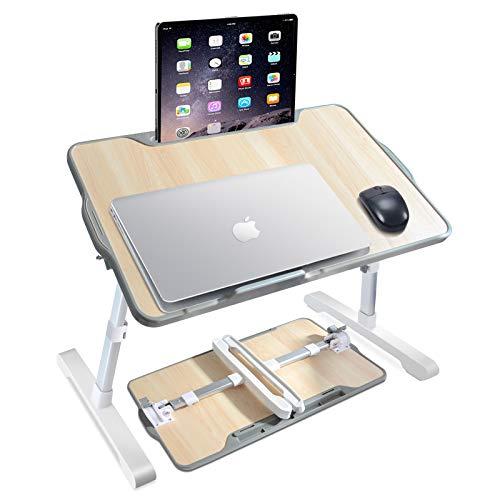 Hakkax - Mesa portátil ajustable para cama portátil con ranura para teléfono y tableta, mesa plegable para portátil con patas flexibles para cenar/trabajar/juegar/pintar