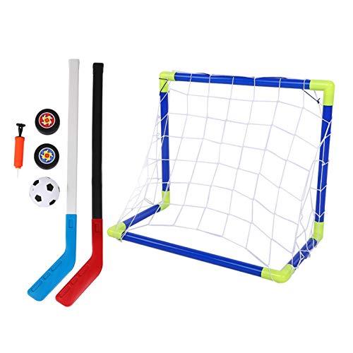 Eddwiin Niños Fútbol-2 en 1 Deportes al Aire Libre Niños Fútbol Hockey sobre Hielo Kit de portería con Bolas Bomba Juguetes de Entrenamiento para niños