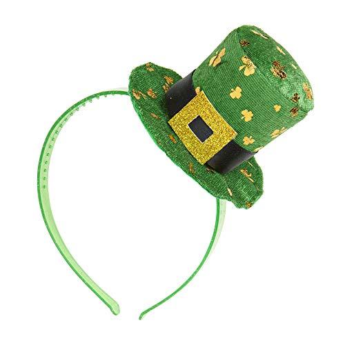 Widmann 1158H - Hut St. Patricks Day, Mini Hut auf Haarreifen, grün, goldene Kleeblätter, Kopfbedeckung, Haarreifen, Irish Party, St. Patrick´s Day, Motto Party, Karneval