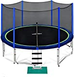 Zupapa 10 FT Trampoline for Kids with Safety Enclosure Net 330 lbs Weight Capacity Germany TUV Approved Outdoor Yard Trampolines with Jumping Mat Spring Pad Ladder Rain Cover