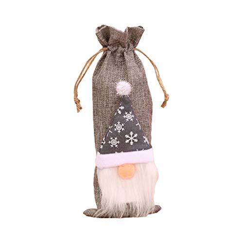Fugift Muñeco de gnomo sueco de Navidad vino tinto champán botella cubierta con cordón bolsa decoración mesa fiesta