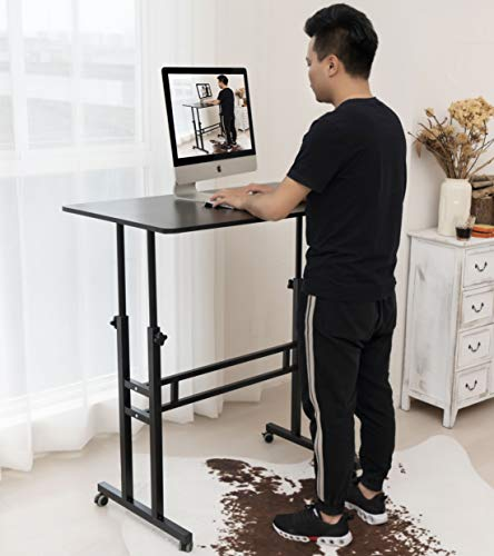 Akway Computer Desk Work from Home Table Standing Desk with Wheels 39.4 x 23.6 inches Height Adjustable Desk Sit Stand Desk Rolling Cart, Black ZLD-100-HHT-CA