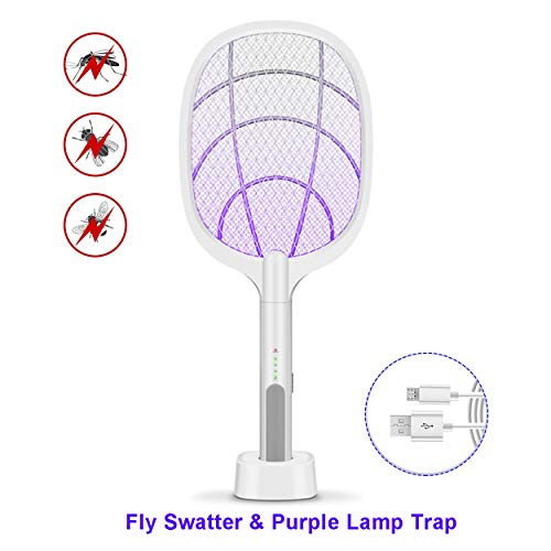 Electric Fly Swatter Racket, Rechargeable Mosquito Swatter with UV Light for Home Kitchen Backyard