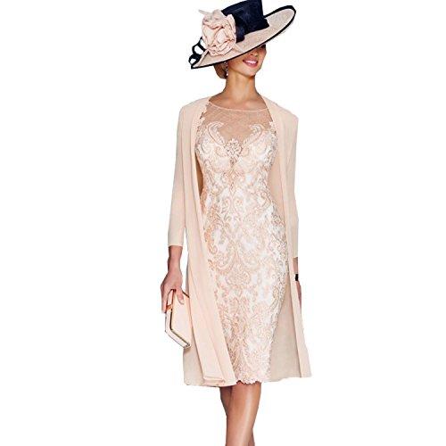 dressvip Elegant Rosa Chiffon Kleider Damen Festlich (38)