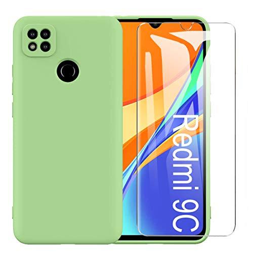 MOONESS Cover per Xiaomi Redmi 9C Custodia,con 2 Pellicola Vetro Temperato Morbida Sottile Liquid TPU Case per Xiaomi Redmi 9C - Verde