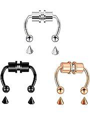 Nihexo, 3 anelli magnetici a ferro di cavallo, per setto nasale magnetico, a ferro di cavallo, anello per naso, riutilizzabile, in acciaio INOX