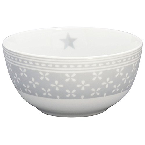 Krasilnikoff - Happy Bowl - Daisy - Schale - Dessertschale - Müslischale - Porzellan - grau - weiß geblümt - Ø 14 cm