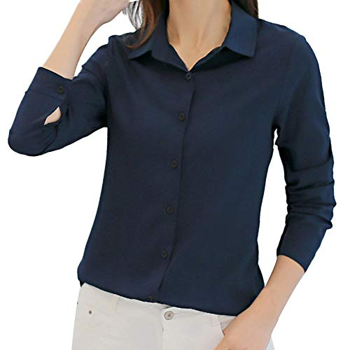 Toamen Femmes Chemise à manches longues Mousseline de soie Coupe slim Carrière solide de bureau Tops Automne (XXL, Marine)