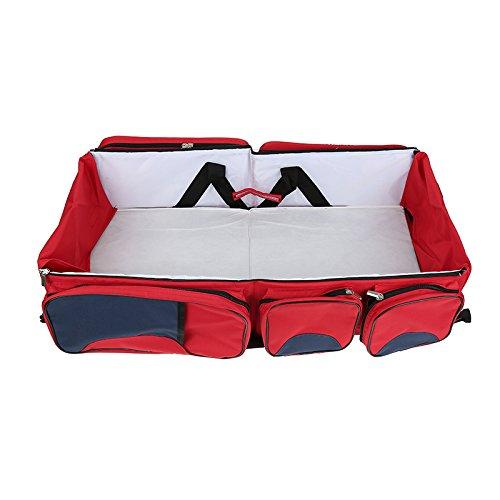 Flyelf 3 in 1 Baby Wickeltaschen mit Schnallen Reise Kinderbett Tasche Wiege 40×40×15 cm (Rot)