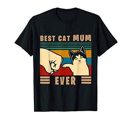 Vintage Best Cat Mum Ever Fist Bump, Cat Lover T-Sh