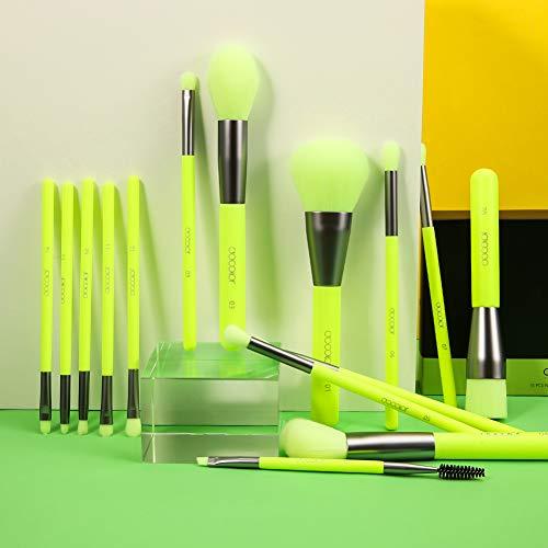 Docolor Makeup Brushes 15Pieces Neon Green Makeup Brushes Set Professional Premium Synthetic Kabuki Foundation Blending Brush Face Powder Blush Concealers Eye Shadows Make Up Brushes Kit