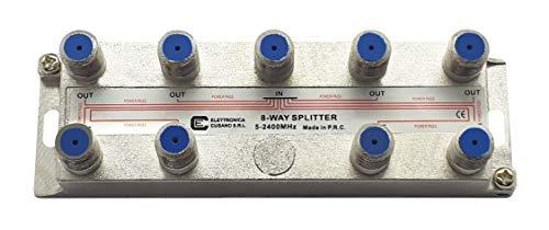 8851 SAT-aansluit-splitter, 8-weg antenne, voor binnen, met F-stekker, antenneversterker, TV-satellietantenne, verticaal gedeelte, terrestrisch en satelliet.