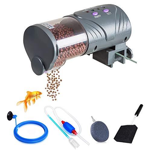 wecan Mangiatoia Automatica Acquario, Distributori Automatici di Cibo per Pesci, Pompa a sifone per Acquario Manuale, Disco Rotondo con Bolle di Pietra e Spazzola per la Pulizia dell'acquario