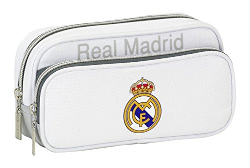 Real Madrid CF - Estuche Portatodo con Bolsillo (SAFTA 811624602), Color Gris