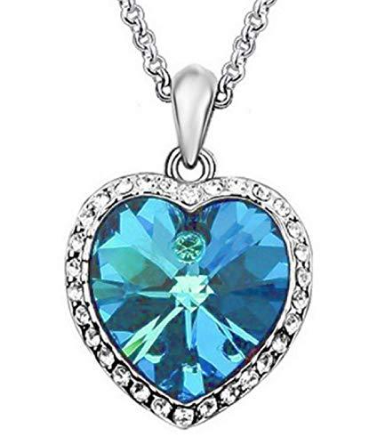 KIRALOVE Collar corazón océano   Piedra Azul   Azul