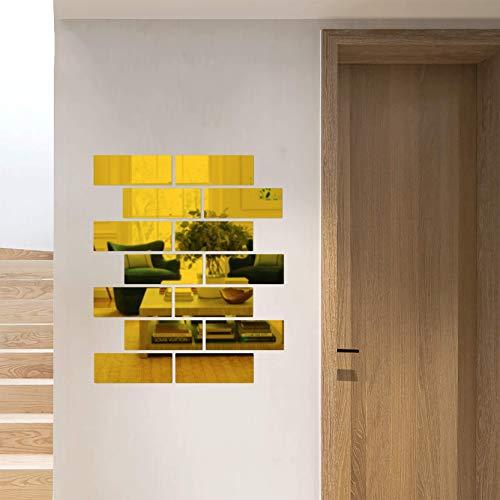 Removable Acrylic Mirror Setting,Mirror Wall Stickers,Non Glass Mirror Plastic Mirror Acrylic Mirror Wall Decor Self Adhesive Tile (Rectangle, Gold)