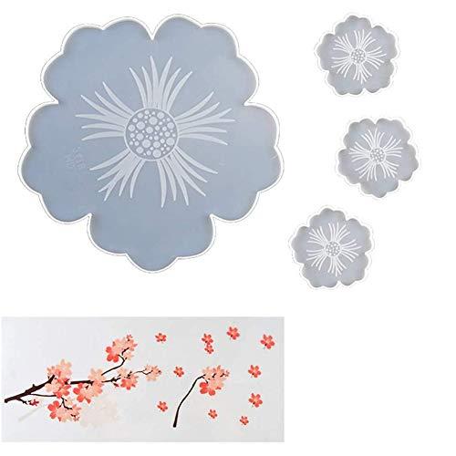 Andifany Moldes para Posavasos de Resina, Moldes para Posavasos de Silicona con Flores Irregulares, Moldes de Resina Epoxi para Hacer de DIY DecoracióN de Rebanadas de áGata Falsa