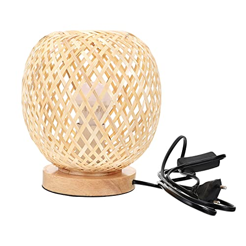 UKCOCO Boho Lampes pour Chambres Rotin Table Lampes Bambou en Osier Lampe Boho Lampe de Table en Rotin Rotin Rotin Lampe De Chevet Lumière de Nuit Bureau Décoratif Lampe en Rotin Beige