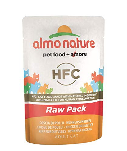 almo nature HFC Raw Pack Wet Cat Food Pouch - Bacchette di Pollo (Confezione da 24 x 55 g)