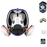 chengchuang 15 in1 Full Facepiece Reusable Respirators, Respirator with Carbon Filters, Wide Field of View Full Face Lightweight Respirator Painting Spraying Decoration Woodworking for 6800