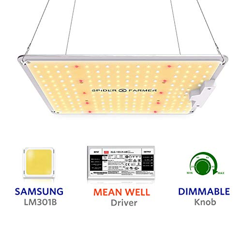 Spider Farmer Neueste LED Pflanzenlampe LED Grow Lampe SF 1000 Pflanzenlampe Vollspektrum mit Samsung Chips & Dimmbar Mean Well Driver LED Grow Light Full Spectrum für Zimmerpflanzen, Gemüse, Blume