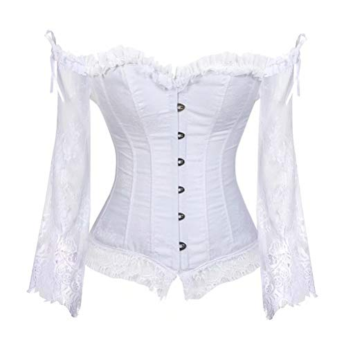 Corset Disfraz Mujer Bustier corsé Manga Larga Encaje para Vestir Sexy gotico Lingerie Elegante Blanco M
