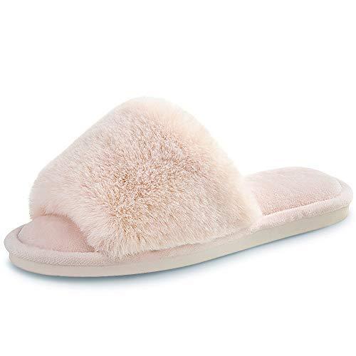 Women's Faux Fur Slippers Fuzzy Flat Spa Fluffy Open Toe House Shoes Indoor Outdoor Slip on Memory Foam Slide Sandals Beige 7-8