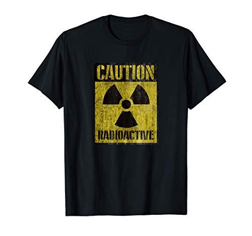 Grunge Caution Radioactive T Shirt - Distressed T-Shirt