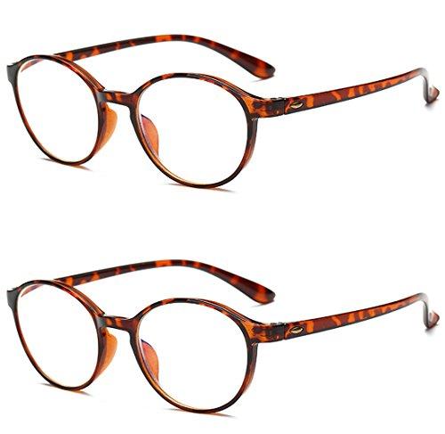 VEVESMUNDO® Lesebrillen Damen Herren Computer Lesebrille Augenoptik Flexibel Lesehilfe Sehhilfe Arbeitsplatzbrille Anti Blue Rays Leser Brille Schwarz Leopard (2 Stücks Set(BRAUN+BRAUN), 3.0)