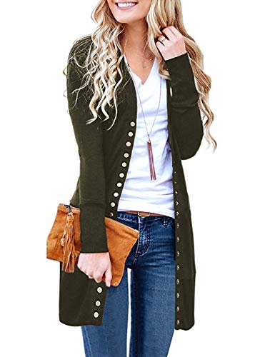 Basic Faith Women's S-3XL V-Neck Button Down Knitwear Long Sleeve Soft Knit Casual Cardigan Sweater Style 2-Army Green M