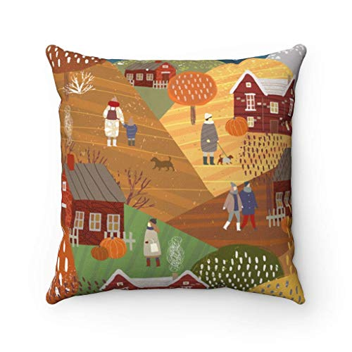 N\A Winter Town Throw Pillow Cover Fall Pumpkin Hill Hometown Funda de Almohada Cuadrada Decorativa Linda Funda de Almohada artística para Regalo