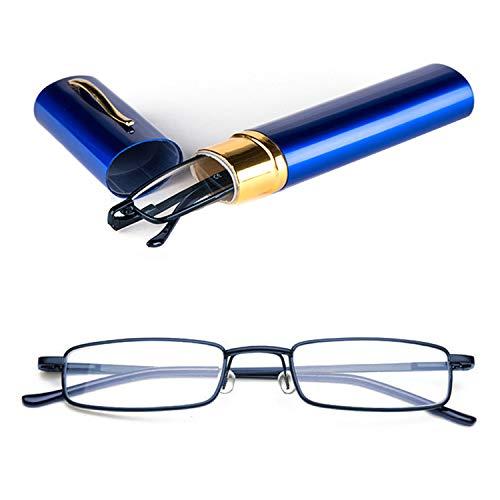 Twinkleyes Herren Damen Lesebrille Metall Lesehilfe Augenoptik Sehstärke Lesebrillen Mit Etui (Blau, 1.5)