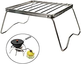 Ultrafun Portable Camping Grill Compact Mini Stainless Steel Campfire Charcoal Gas BBQ Grill Rack for Backpacking, Hiking, Picnics, Fishing (A-Large)