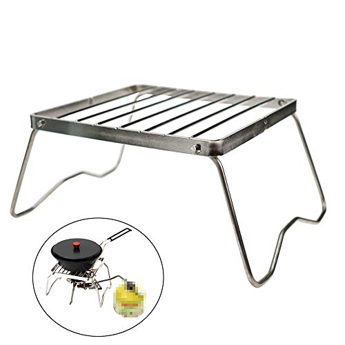 Ultrafun Portable Camping Grill Compact Mini Stainless Steel Campfire Charcoal Gas BBQ Grill Rack for Backpacking, Hiking, Picnics, Fishing (A-Medium)